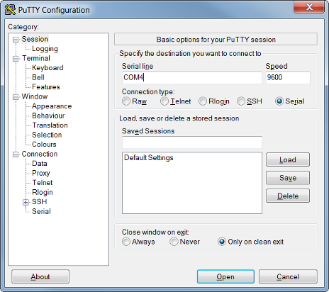 Configuring Putty to communicate with MSP430 over UART